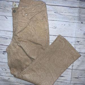 TALBOTS Brown Curvy Slim Crop Paisley Print Jeans